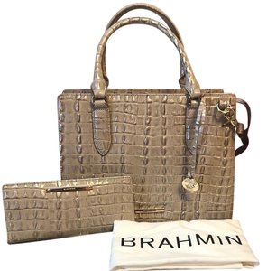 Brahmin Satchel in Warm Gray La Scala