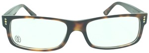 Cartier Cartier Dark Brown Tortoise Squared Eyeglasses Optical Frame 4888783