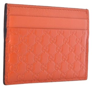 63d7fab282f8 Gucci Gucci Microguccissma Orange Card Holder Leather Wallet 476010