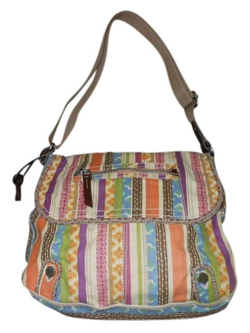 Item - Lightweight Colorful Fun Multi Color Canvas Shoulder Bag