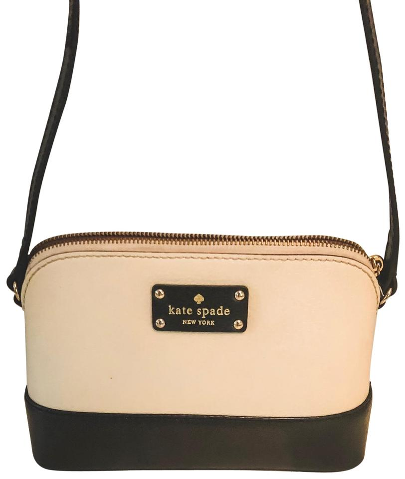 c8939d531 Kate Spade Wellesley Hanna Black Cream Leather Cross Body Bag - Tradesy