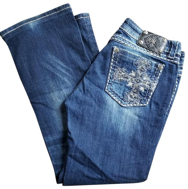 Item - Blue Distressed Embellished Cross Boot Cut Jeans Size 31 (6, M)
