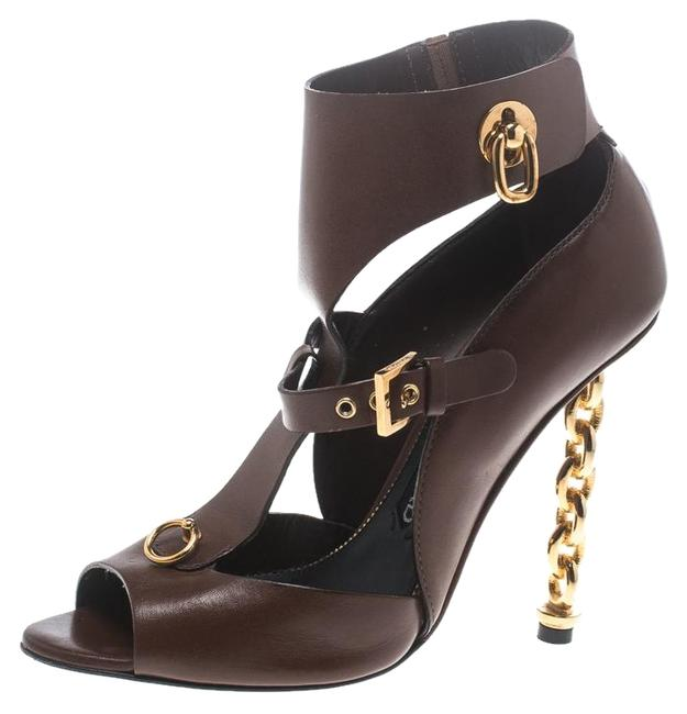 Item - Brown Leather Chain Heel Cutout Peep Boots/Booties Size EU 38 (Approx. US 8) Regular (M, B)