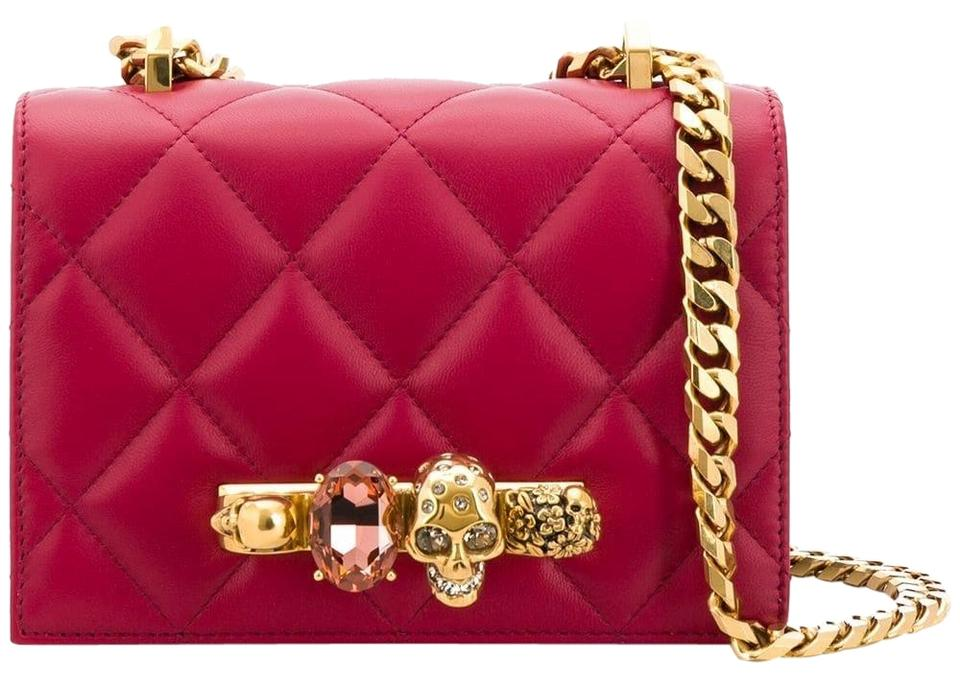 e425727e5123 Alexander McQueen Small Jewelled Satchel Skull Duster Red Cherry  Convertible Clutch Lambskin Leather Cross Body Bag
