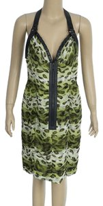 Burberry Animal Print Silk Leather Green Halter Top