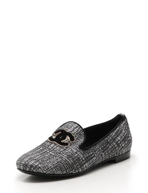 Item - Black Leather Gold Trim Cc Logo Fantasy Tweed Slip-on Loafers Moccasin Flats Size EU 41 (Approx. US 11) Regular (M, B)