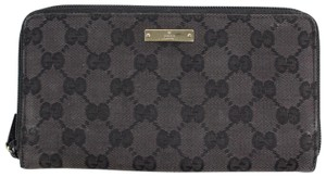 Gucci Gucci Black Monogram Canvas Wallet