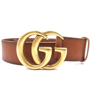 a9f7fe1a405 Gucci GG Marmont logo gold buckle leather Belt Size 75 30