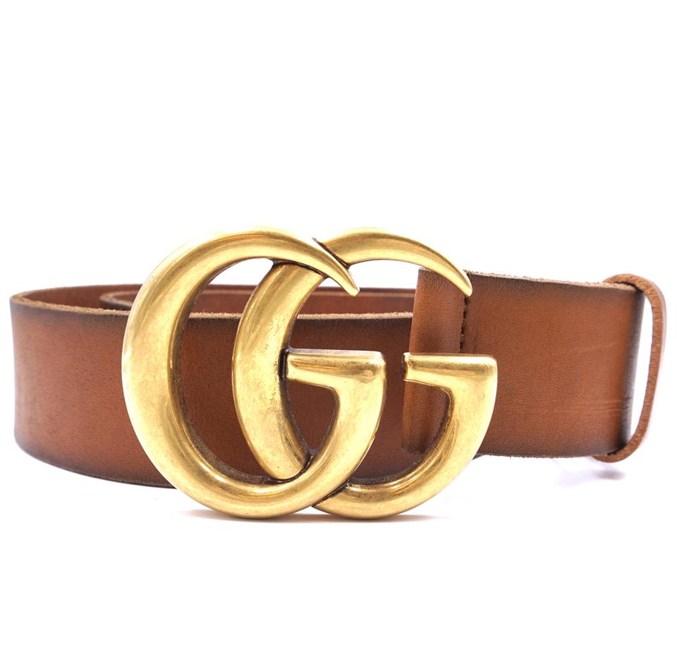 52651ecd33b9f Gucci  29237 Brown Marmont Gg Logo Gold Buckle Leather Size 75 30 ...
