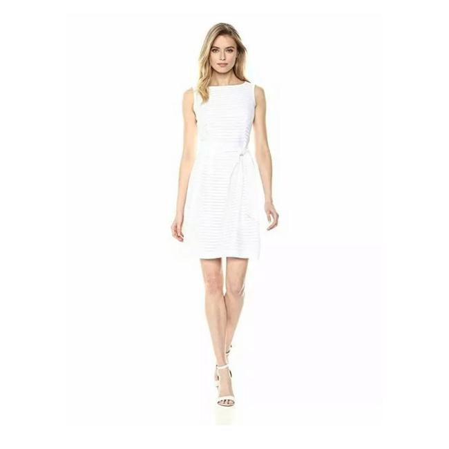 Item - White Fit Flare Striped Short Cocktail Dress Size 4 (S)