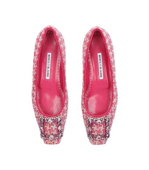 Item - Pink Classic Tweed Caza Crystal Strass Buckle Embellished Flats Size EU 38 (Approx. US 8) Regular (M, B)