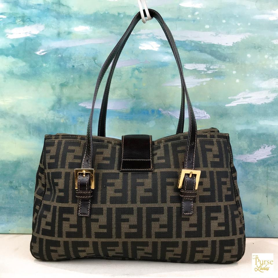 df7035441f07 Fendi Tobacco Zucca Ff Logo Sale Brown Canvas Shoulder Bag - Tradesy