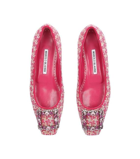 Item - Pink Classic Tweed Caza Crystal Strass Buckle Embellished Flats Size EU 37 (Approx. US 7) Regular (M, B)