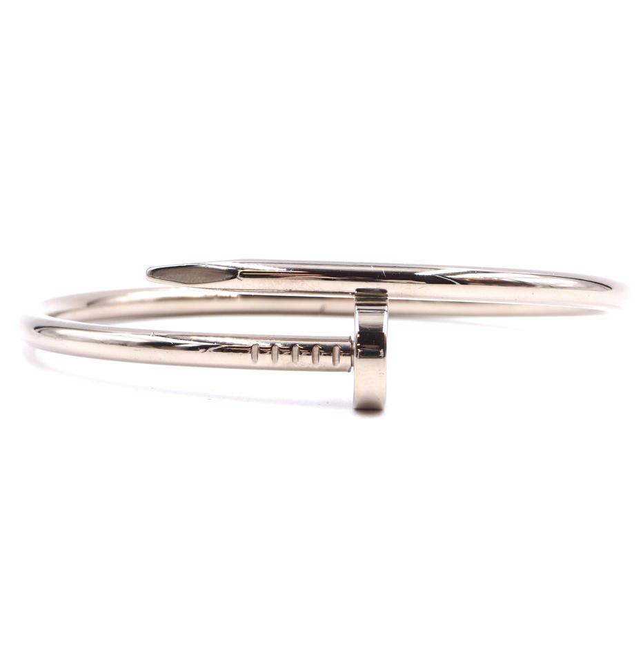 c6c0cc5b10bb1 Cartier #29168 White Gold 18k 750 Juste Un Clou Bangle Cuff Size 17 Nail  Shape Bracelet 2% off retail