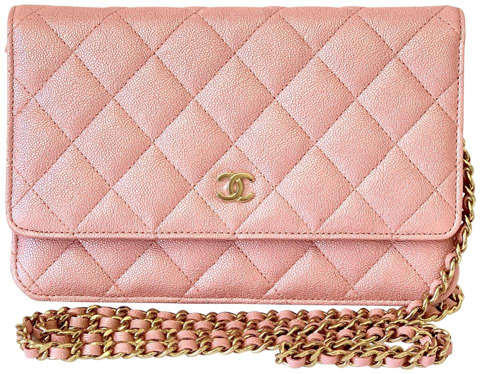 5a8ee202b768 Chanel Wallet on Chain 19s Iridescent Pearly Caviar Woc Pink Leather ...