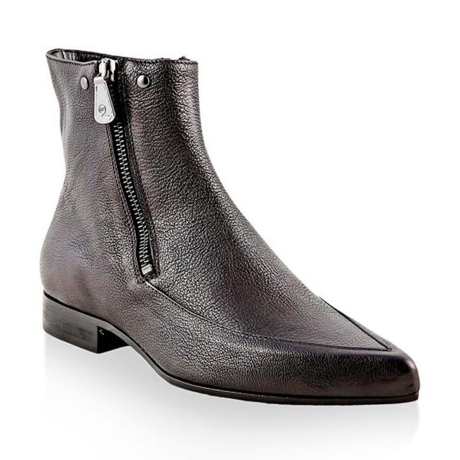 Item - Black Pointed Toe Grained Leather Ankle Boots/Booties Size EU 37 (Approx. US 7) Regular (M, B)
