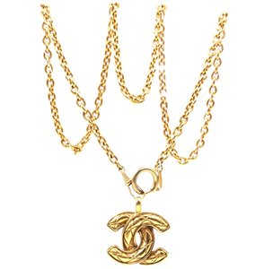 Chanel Rare CC medium quilted gold hardware long chain necklace