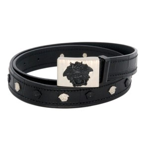 Versace Gianni Versace Croc Embossed Leather Medusa Logo Buckle Belt Size80/32