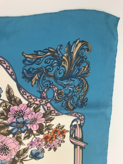 Gucci In stores now 2019 Gucci Silk Carre with Flowers and Tassel Silk Scarf Image 3