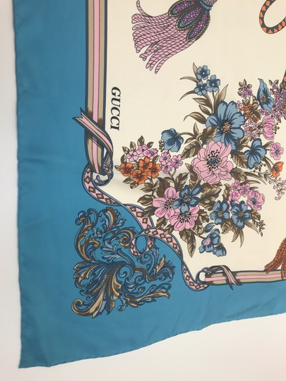 Gucci In stores now 2019 Gucci Silk Carre with Flowers and Tassel Silk Scarf Image 4