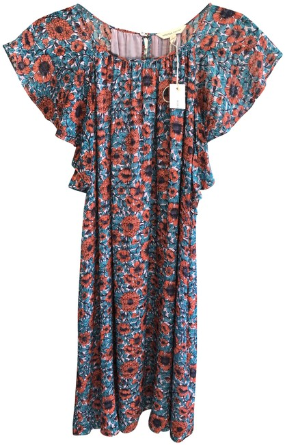 """Item - Red/Teal/Pink Floral """"Lindsay Ruffle Mid-length Short Casual Dress Size 6 (S)"""