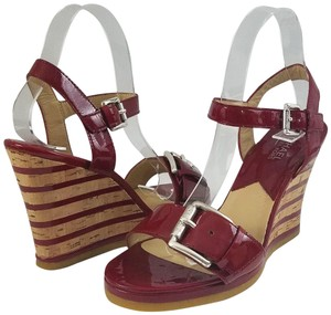 Michael Kors Ships In 24 Hours Wedge Excellent Condition Red Sandals