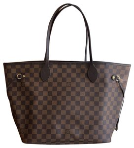 Louis Vuitton Neverfull Tote in Damier ebene red