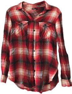 BDG Flannel Light Plaid Button Button Down Shirt Red