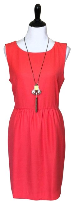 Item - Red Orange Sleeveless Ruched Mid-length Short Casual Dress Size 12 (L)