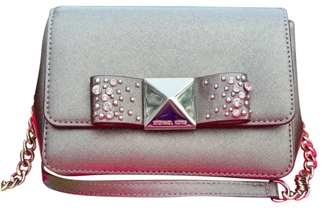 Item - Clutch Tina Small Silver Leather Cross Body Bag