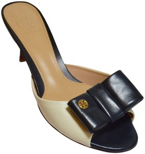 Tory Burch Audrina Logo Box Bicolor Ivory/Black Mules