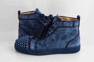 Christian Louboutin Blue Lou Spikes Orlato Flat Suede Sneakers Shoes