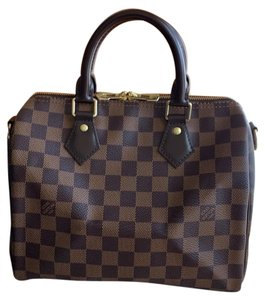 Louis Vuitton Speedy Bandouliere Satchel in Damier ebene red