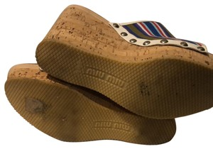 Miu Miu cork wedge with stripped green, blue and red canvas Mules