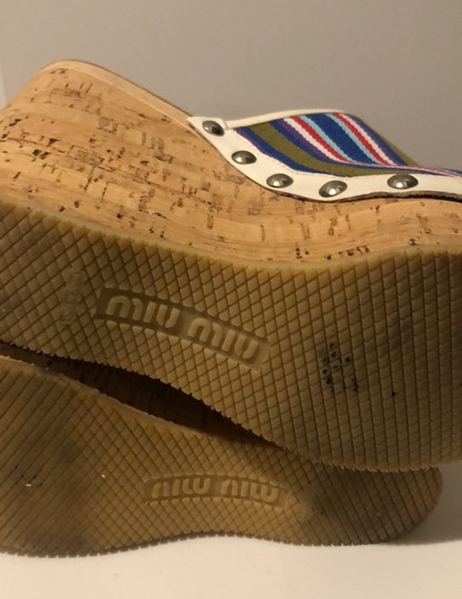 Miu Miu cork wedge with stripped green, blue and red canvas Mules Image 1