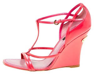 770eb7f83149 Louis Vuitton Patent Leather Ankle Strap Square Toe Pink Wedges