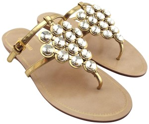 Miu Miu Prada Jeweled T Strap Buckled Miller Gold Sandals