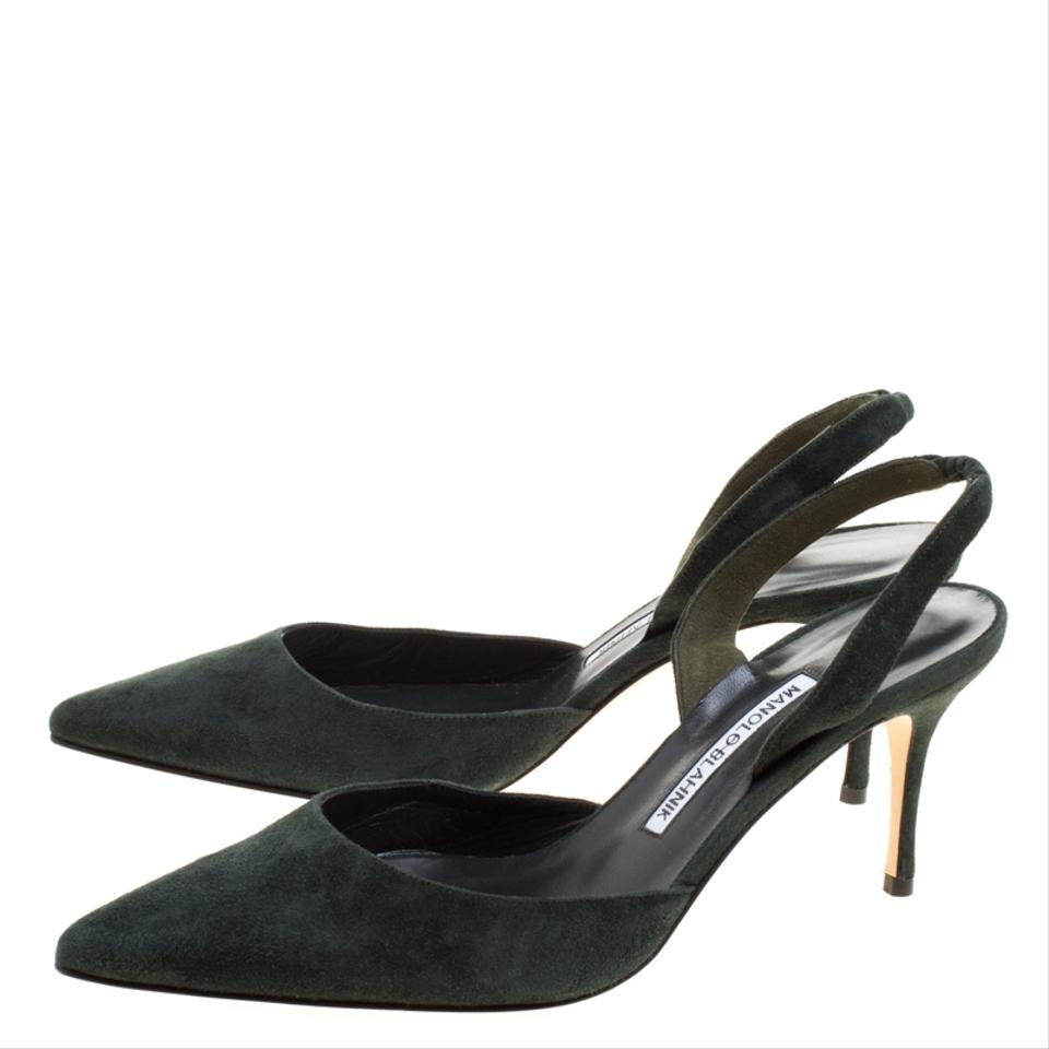 00d9481e1f792 Manolo Blahnik Suede Pointed Toe Slingback Leather Green Sandals Image 7.  12345678
