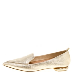 Nicholas Kirkwood Textured Leather Pointed Toe Gold Flats