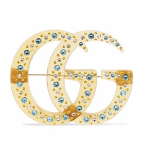Gucci GG logo crystal resin brooch
