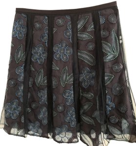 Lafayette 148 New York Ny Designer Embroidered A-line Skirt Dark Blue