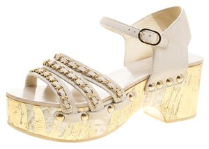 5d75563f7402 Chanel Leather Chain Detail Platform Ankle Strap White Sandals