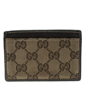 Gucci Beige/Brown GG Canvas and Leather Card Case