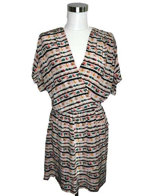 Item - Brown N43 Designer 6 Small Striped A-line Short Casual Dress Size 4 (S)