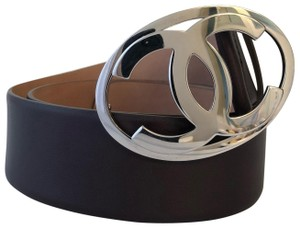 Chanel Chanel Dark Brown Leather Belt with CC Large Oval Silver Buckle
