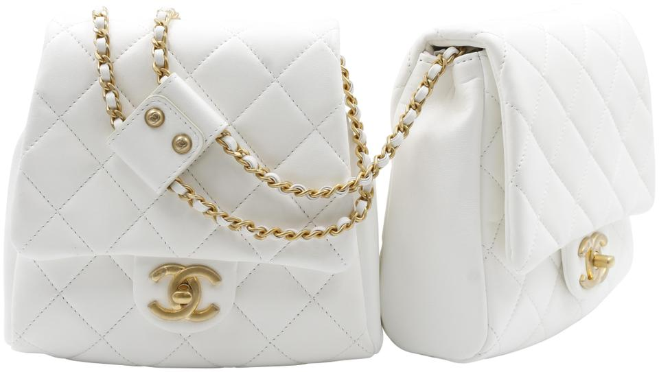 fc6ca5ea Chanel Side Pack Quilted Luxury As0614 B00381 N0895 White Lambskin Leather  Cross Body Bag