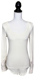Free People Cuff Thermal Longsleeve Boho Top Ivory White, Solid