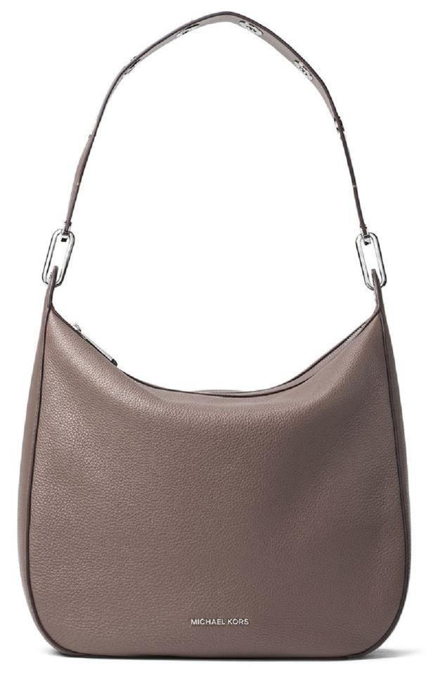 Michael Kors Hobo Raven Large Medium Grommet Zip Pebbled Purse Cinder Taupe Leather Shoulder Bag 60% off retail