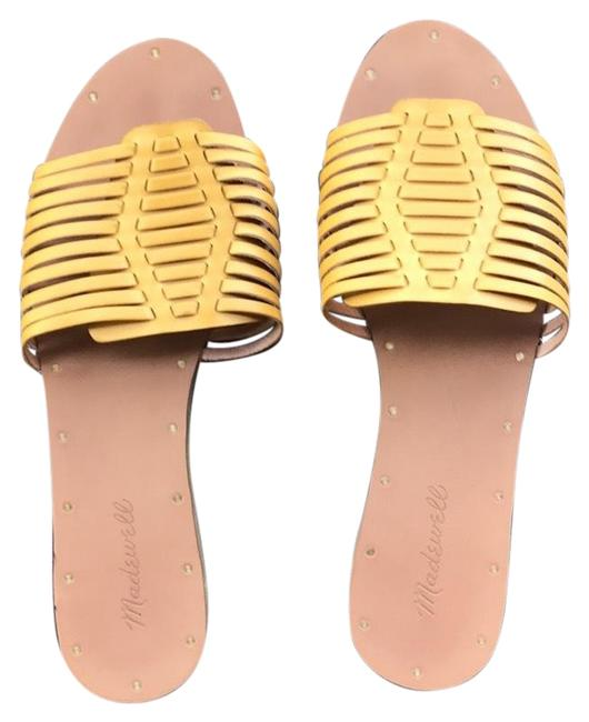 Item - Yellow Curry Color Curry Powder Huaraches Slide Sandals Size US 9 Regular (M, B)