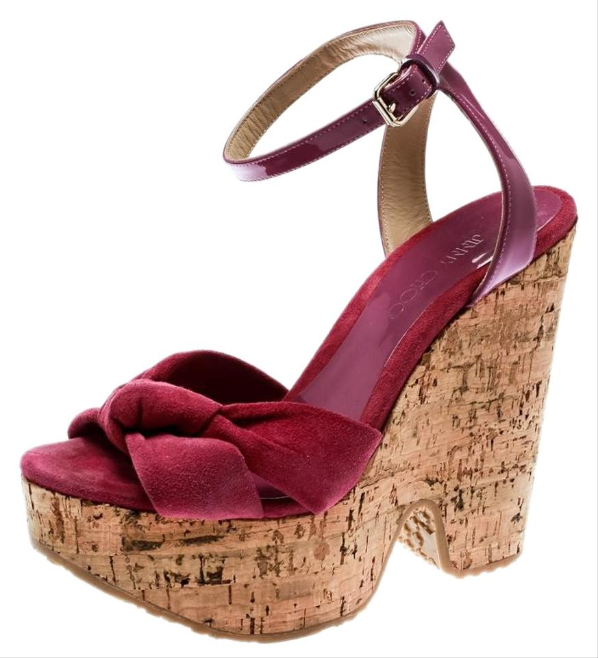 e1e3a790ec Jimmy Choo Pink Suede Patent Leather Gleam Cork Wedge Sandals Size ...
